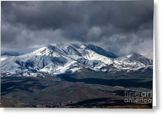 Haybales Greeting Cards - Spring Storm On Squaw Butte Greeting Card by Robert Bales