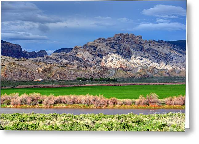 Dinosaurs Greeting Cards - Spring Storm over Split Mountain Dinosaur National Monument Greeting Card by Gary Whitton