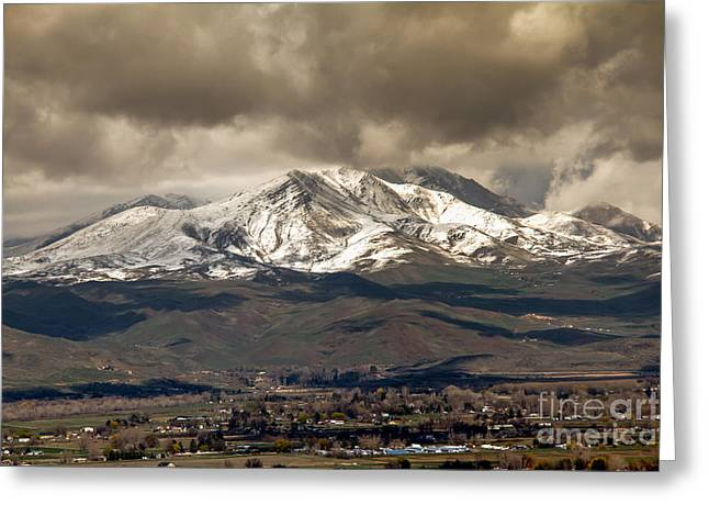 Haybale Greeting Cards - Spring Storm Over Squaw Butte Greeting Card by Robert Bales