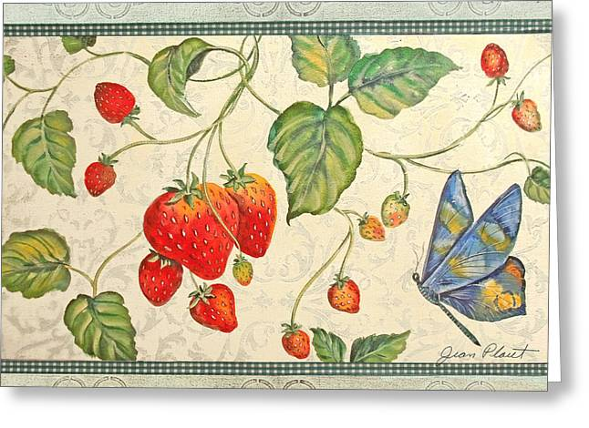 Strawberry Art Greeting Cards - Spring Strawberries Greeting Card by Jean Plout