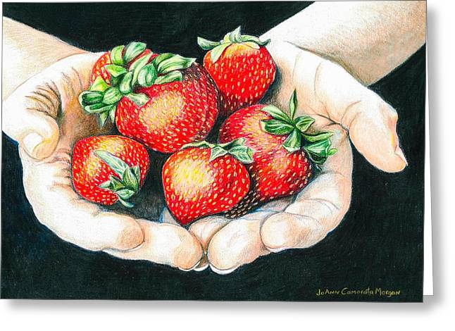 Strawberry Drawings Greeting Cards - Spring Strawberries Greeting Card by JoAnn   Morgan