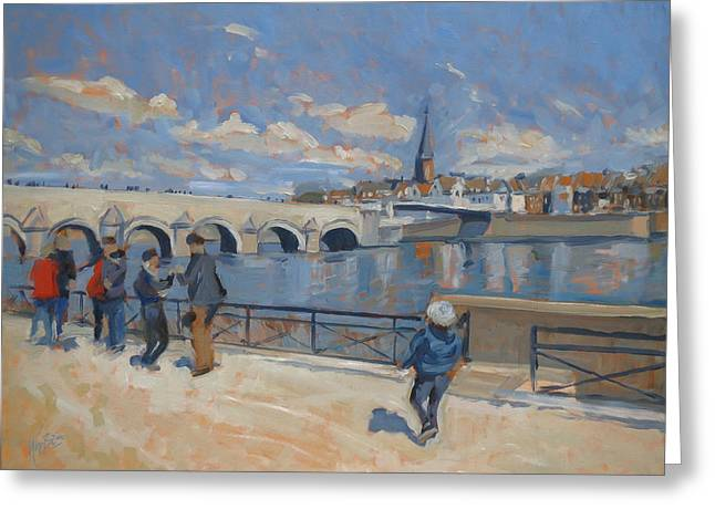 Wyck Greeting Cards - Spring stroll along the Maas in Maastricht Greeting Card by Nop Briex