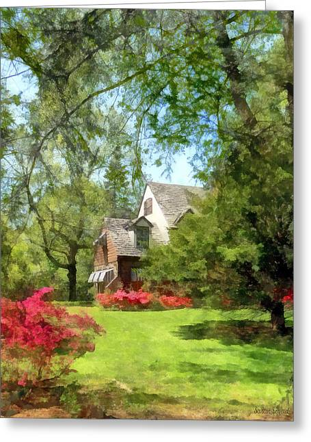 Spring - Suburban House With Azaleas Greeting Card by Susan Savad