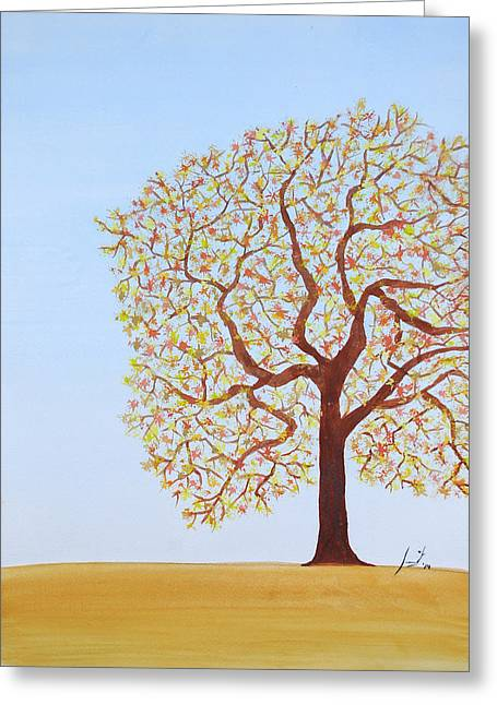 Tree Roots Paintings Greeting Cards - Spring Greeting Card by Sumit Mehndiratta