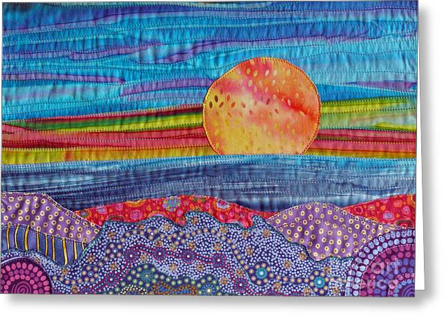 Print Tapestries - Textiles Greeting Cards - Spring Sunset Greeting Card by Susan Rienzo