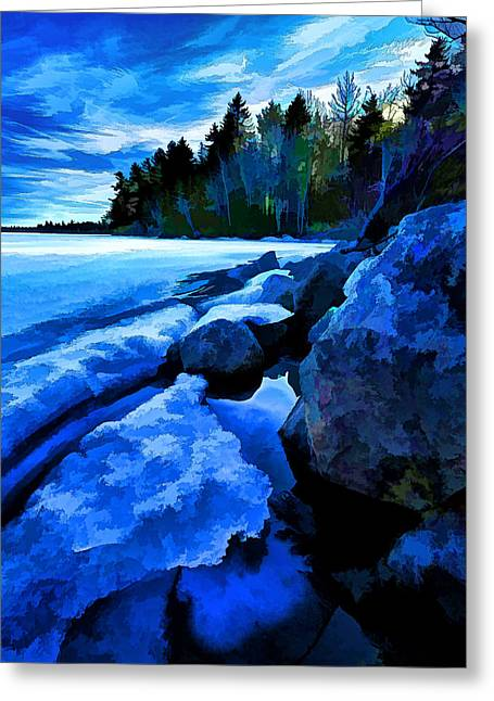 New England Winter Scene Greeting Cards - Spring Thaw 2 - Painterly Greeting Card by Bill Caldwell -        ABeautifulSky Photography