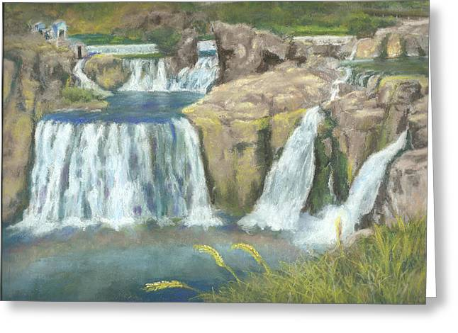 Fall Grass Pastels Greeting Cards - Spring Thaw at Shoshone Falls Greeting Card by Harriett Masterson