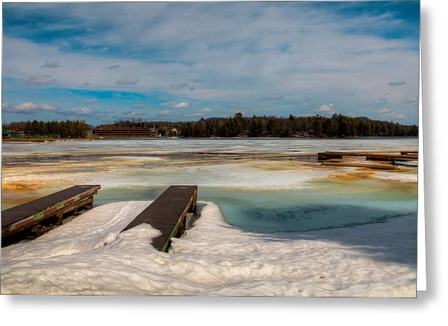 Evergreen Covered In Snow Greeting Cards - Spring Thaw on Old Forge Pond in the Adirondacks Greeting Card by David Patterson