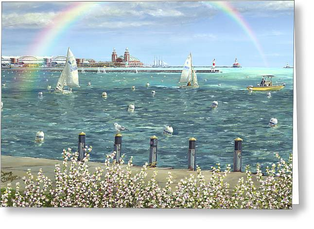Blue Sailboats Greeting Cards - Spring Tidings II Greeting Card by Doug Kreuger