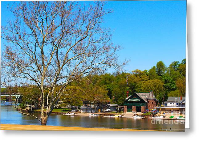 Scull Greeting Cards Greeting Cards - Spring Time at Boathouse Row Greeting Card by David Jackson