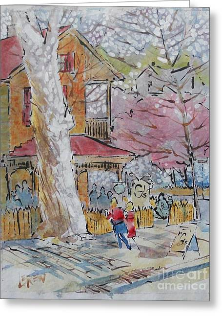 Spring Scenes Drawings Greeting Cards - Spring Treat Greeting Card by Larry Lerew