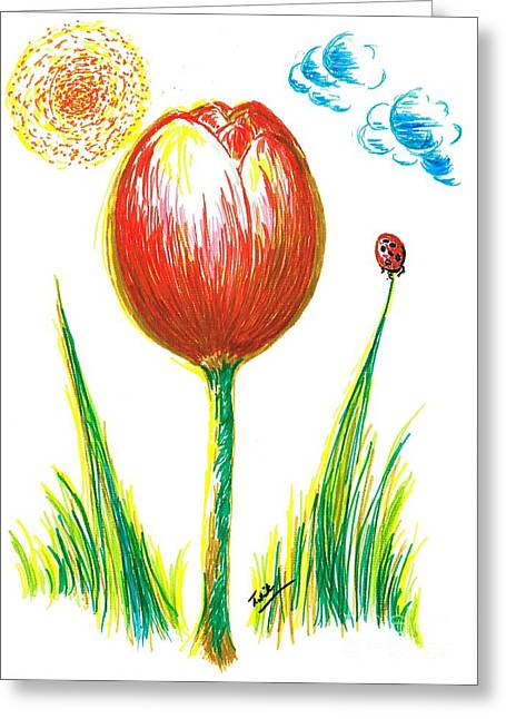 Reach Drawings Greeting Cards - Spring Tulip Greeting Card by Teresa White
