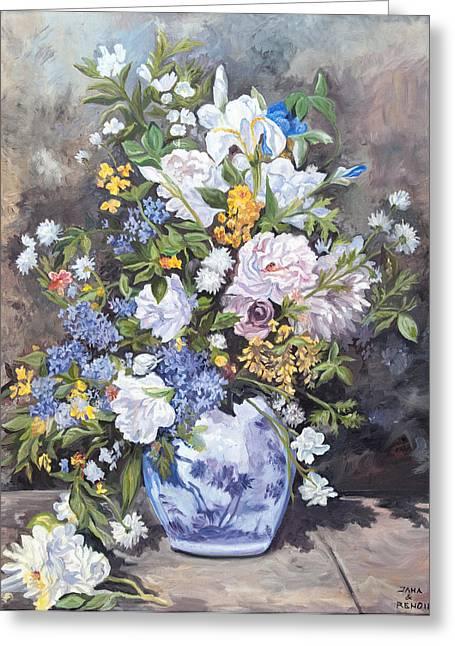 Renoir Greeting Cards - Spring Vase Greeting Card by Jana Goode