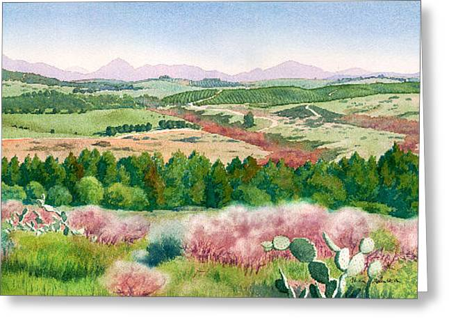 Rancho Greeting Cards - Spring View from Del Dios Highway Greeting Card by Mary Helmreich