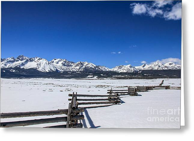 Haybale Photographs Greeting Cards - Spring View Of The Sawtooth Mountains Greeting Card by Robert Bales