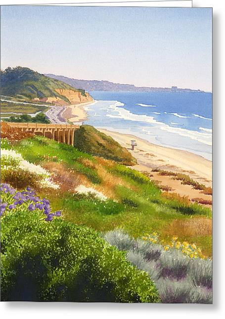 Highway Greeting Cards - Spring View of Torrey Pines Greeting Card by Mary Helmreich