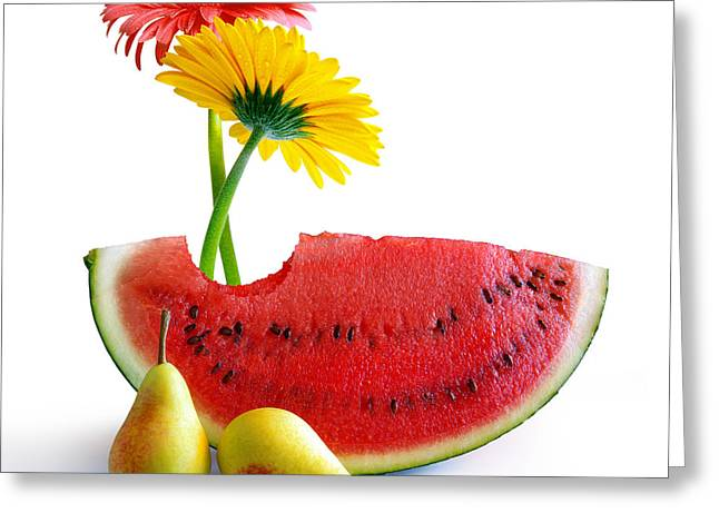 Biting Greeting Cards - Spring Watermelon Greeting Card by Carlos Caetano