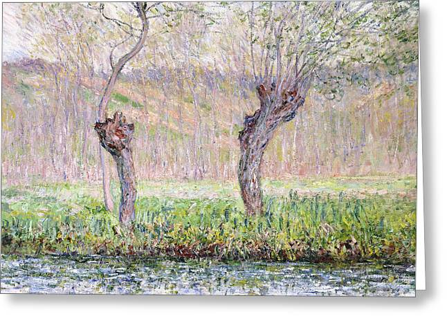 Signature Greeting Cards - Spring Willows Greeting Card by Claude Monet