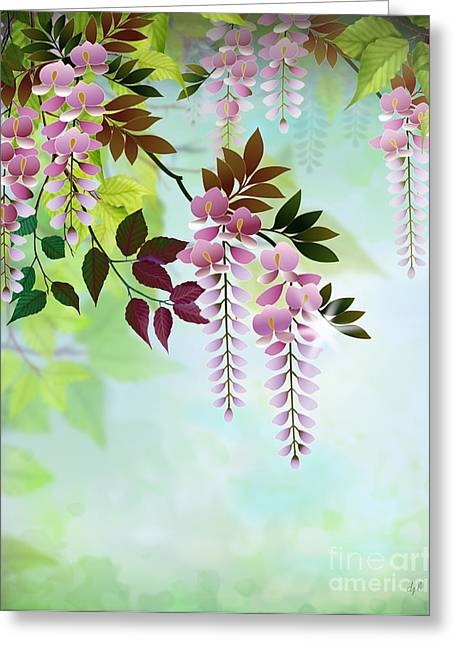 Flower Design Greeting Cards - Spring Wisteria Greeting Card by Bedros Awak