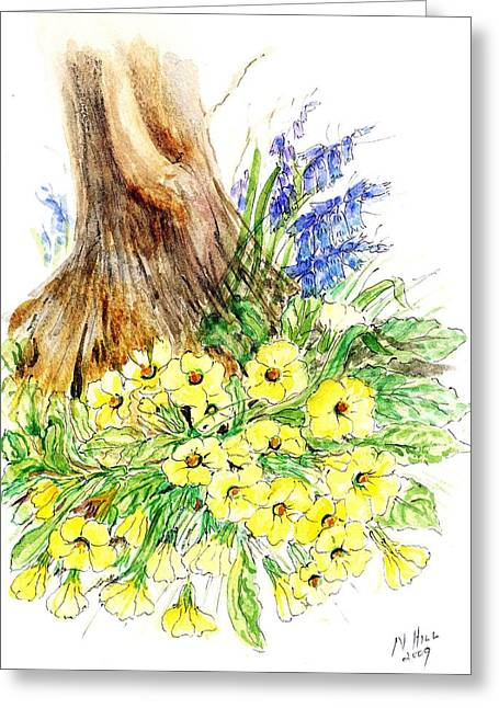 Primroses Greeting Cards - Spring Woodland Wc On Paper Greeting Card by Nell Hill