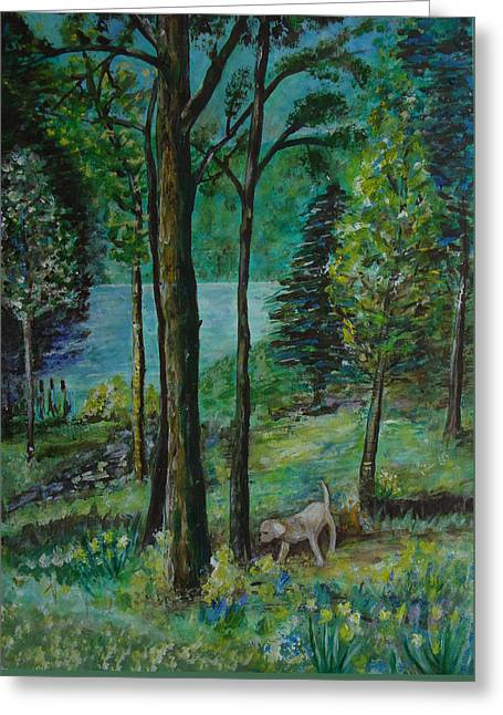 Veronica Rickard Greeting Cards - Spring Woodland With Dog - painting Greeting Card by Veronica Rickard