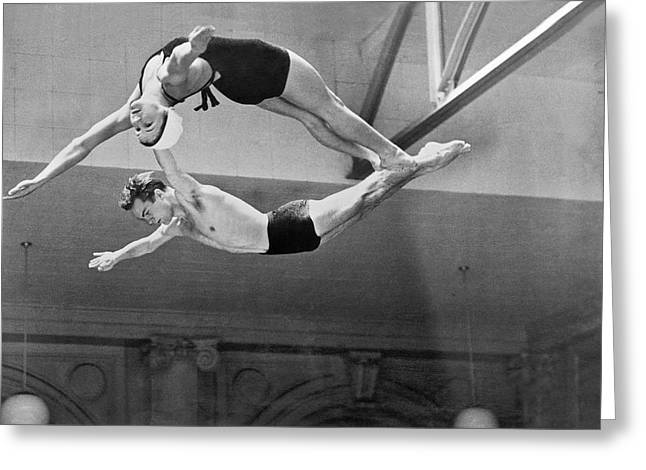 National Championship Greeting Cards - Springboard Diving Champions Greeting Card by Underwood Archives