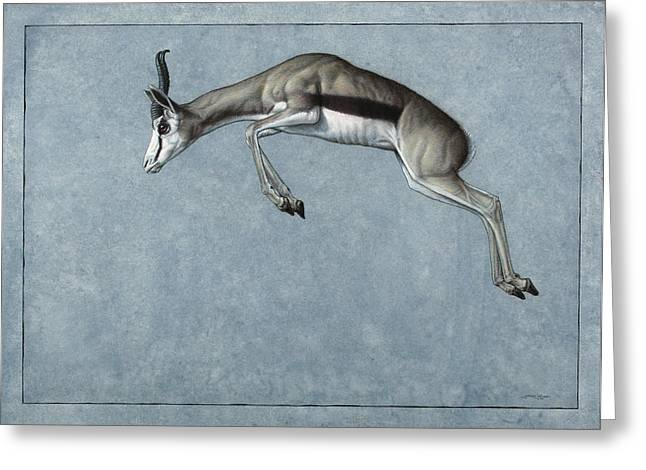 Animals Drawings Greeting Cards - Springbok Greeting Card by James W Johnson