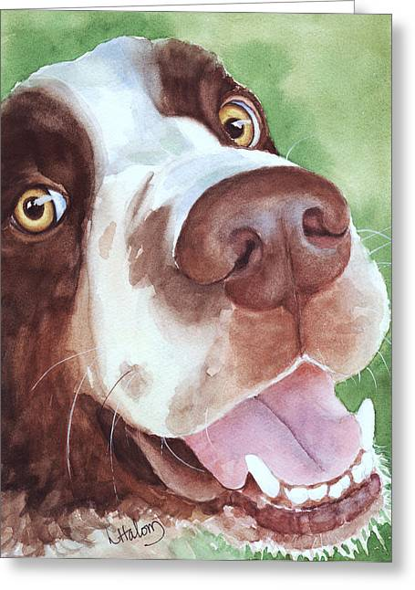 Spaniel Greeting Cards - Springer Greeting Card by Linda Halom