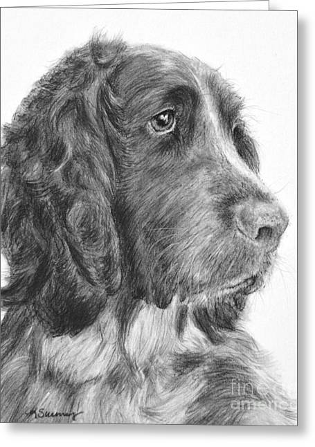 Spaniel Drawings Greeting Cards - Springer Spaniel Profile Greeting Card by Kate Sumners