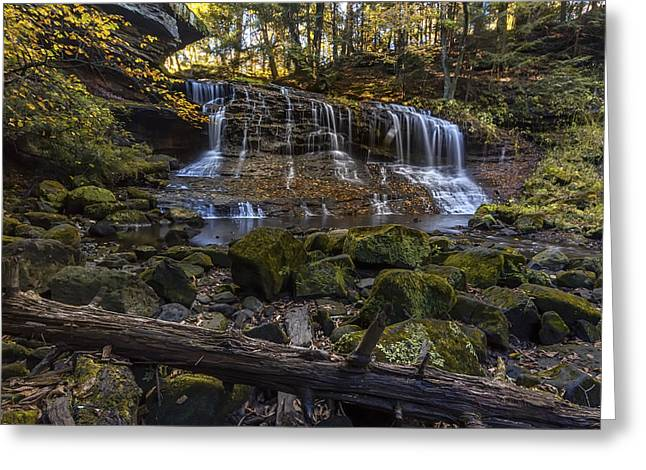Moss Green Greeting Cards - Springfield Falls Greeting Card by Jennifer Grover