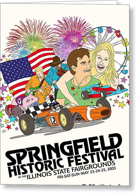Rally Greeting Cards - Springfield Illinois Grand Prix Greeting Card by Nomad Art And  Design