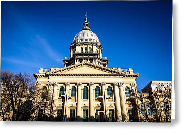 Capitol Building Greeting Cards - Springfield Illinois State Capitol Building Greeting Card by Paul Velgos