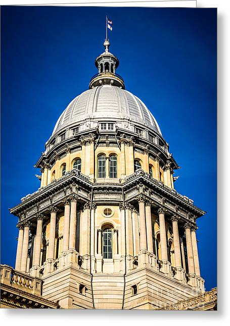 French Renaissance Greeting Cards - Springfield Illinois State Capitol Dome Greeting Card by Paul Velgos