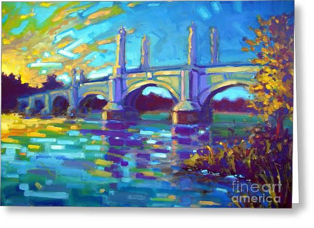 Naturalistic Paintings Greeting Cards - Springfield Memorial Bridge Greeting Card by Caleb Colon