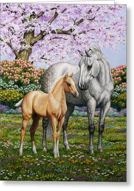 Mare Greeting Cards - Springs Gift - Mare and Foal Greeting Card by Crista Forest