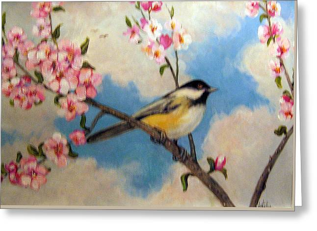 Cherry Blossoms Paintings Greeting Cards - Springs Promise Greeting Card by Donna Tucker