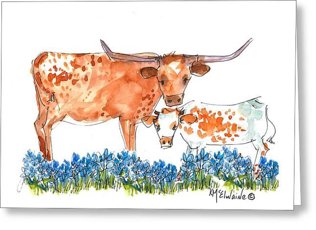 Kathleen Greeting Cards - Springs Surprise Longhorns Greeting Card by Kathleen McElwaine