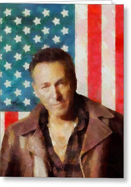 E Street Band Greeting Cards - Springsteen American Icon Greeting Card by Dan Sproul