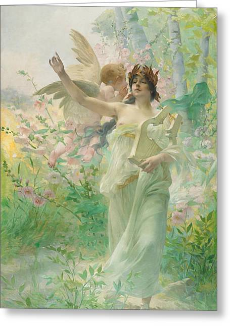 Springtime Allegory Greeting Card by Paul Francois Quinsac