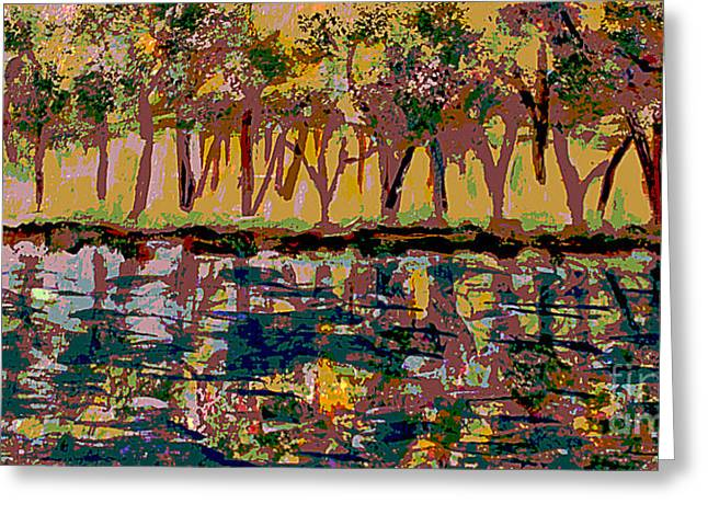 Springtime Along The Muddy River Greeting Card by Rita Brown
