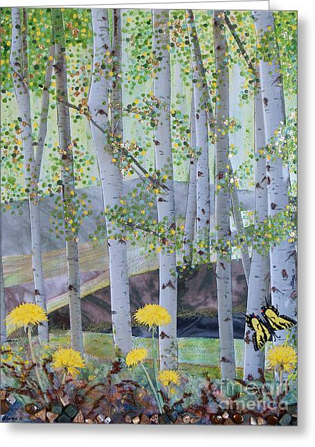 Forest Floor Mixed Media Greeting Cards - Springtime Aspens Greeting Card by Stanza Widen