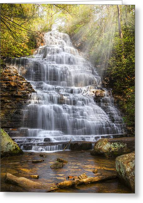 Whitewater Greeting Cards - Springtime at Benton Falls Greeting Card by Debra and Dave Vanderlaan