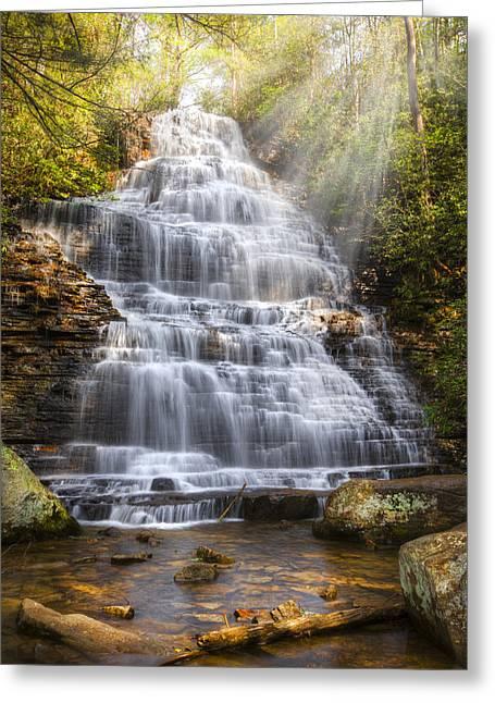 Springtime At Benton Falls Greeting Card by Debra and Dave Vanderlaan