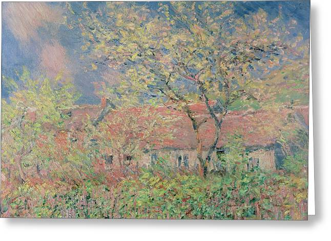 Seasonal Prints Rural Prints Greeting Cards - Springtime at Giverny Greeting Card by Claude Monet