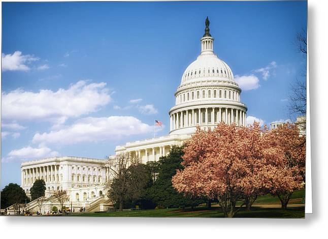 U.s. Capitol Dome Greeting Cards - Springtime at the Capitol Greeting Card by Mountain Dreams