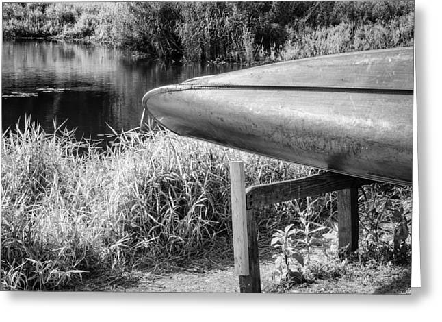 Canoe Greeting Cards - Springtime Canoe BW Greeting Card by Carolyn Marshall
