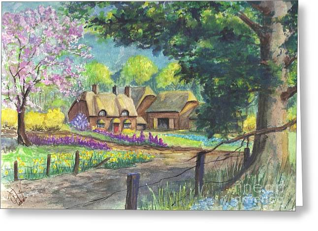 Country Cottage Drawings Greeting Cards - Springtime Cottage Greeting Card by Carol Wisniewski