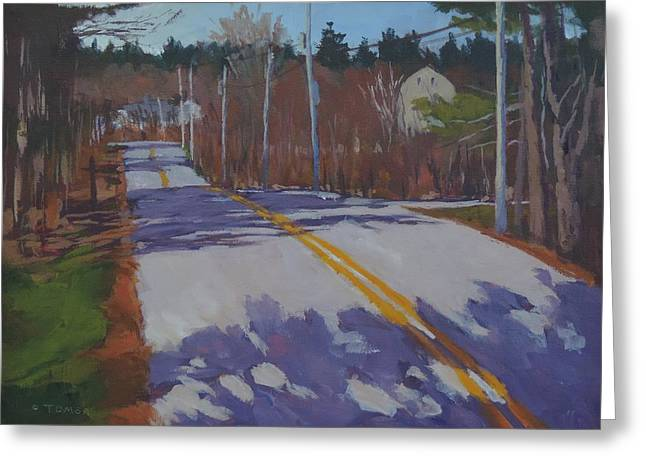 Rural Maine Roads Paintings Greeting Cards - Springtime Country Road Greeting Card by Bill Tomsa
