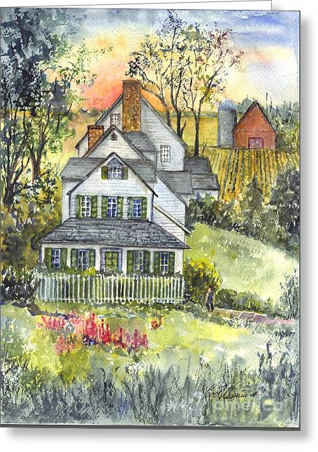 Spring Scenes Drawings Greeting Cards - Springtime Down on the Farm Greeting Card by Carol Wisniewski