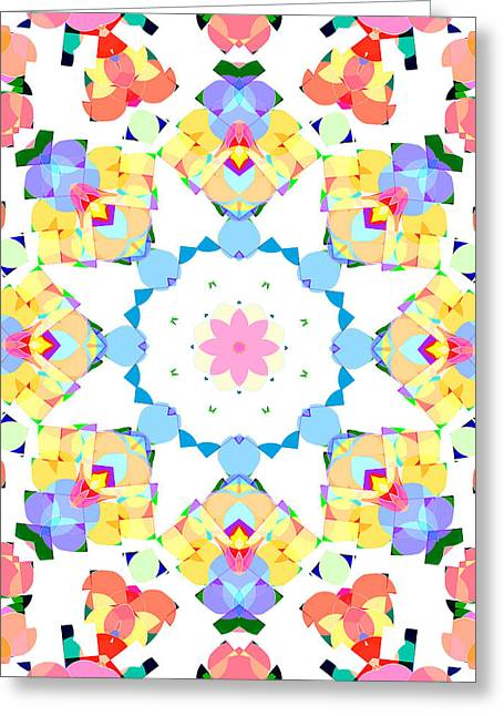 Youthful Digital Greeting Cards - Springtime Geometry Greeting Card by Shawna  Rowe